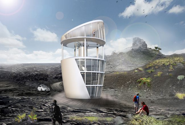 Das Turbinen-Haus wurde entworfen basierend auf dem patentierten Effizienzprinzip zur neuartigen Nutzung von Vertikalen Windturbinen Foto: P.M. Pelken