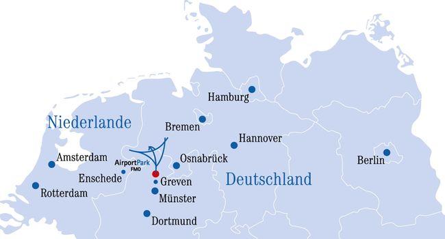 AirportPark FMO – optimaler Absatz- und Vertriebsstandort für Nordwesteuropa. ©AirportPark FMO GmbH